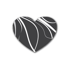 Black And White Elegant Design Rubber Coaster (heart)  by Valentinaart