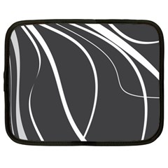 Black And White Elegant Design Netbook Case (xl)  by Valentinaart