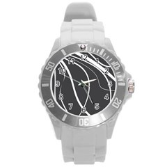 Black And White Elegant Design Round Plastic Sport Watch (l) by Valentinaart