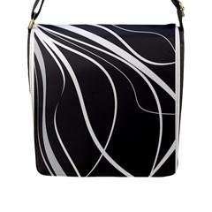 Black And White Elegant Design Flap Messenger Bag (l)  by Valentinaart