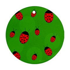 Ladybugs Ornament (round)  by Valentinaart