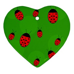 Ladybugs Ornament (heart)  by Valentinaart