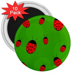 Ladybugs 3  Magnets (10 Pack)  by Valentinaart
