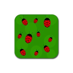 Ladybugs Rubber Coaster (square)  by Valentinaart