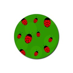 Ladybugs Rubber Coaster (round)  by Valentinaart