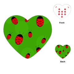 Ladybugs Playing Cards (heart)  by Valentinaart