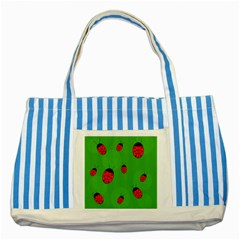 Ladybugs Striped Blue Tote Bag by Valentinaart
