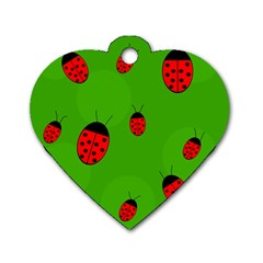 Ladybugs Dog Tag Heart (two Sides) by Valentinaart