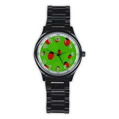 Ladybugs Stainless Steel Round Watch by Valentinaart