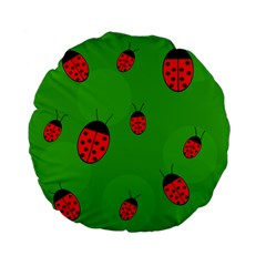 Ladybugs Standard 15  Premium Flano Round Cushions by Valentinaart