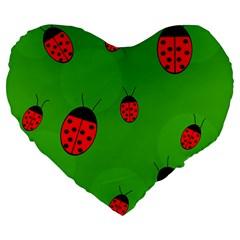 Ladybugs Large 19  Premium Flano Heart Shape Cushions by Valentinaart