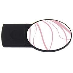 Pink Elegant Lines Usb Flash Drive Oval (2 Gb)  by Valentinaart