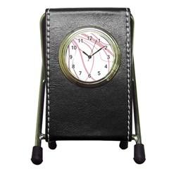 Pink Elegant Lines Pen Holder Desk Clocks by Valentinaart