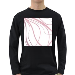 Pink Elegant Lines Long Sleeve Dark T Shirts by Valentinaart