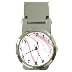 Pink Elegant Lines Money Clip Watches by Valentinaart