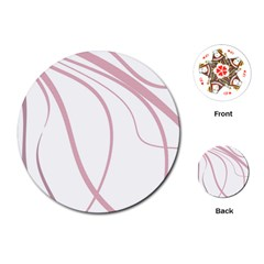 Pink Elegant Lines Playing Cards (round)  by Valentinaart