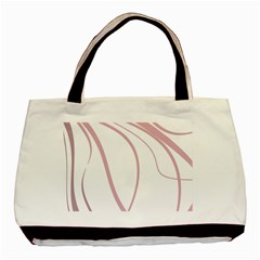 Pink Elegant Lines Basic Tote Bag (two Sides) by Valentinaart