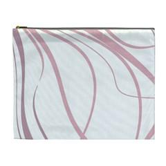 Pink Elegant Lines Cosmetic Bag (xl) by Valentinaart