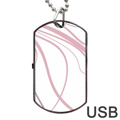 Pink Elegant Lines Dog Tag Usb Flash (two Sides)  by Valentinaart