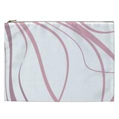 Pink Elegant Lines Cosmetic Bag (xxl)  by Valentinaart