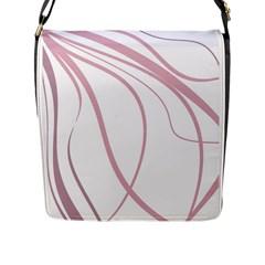 Pink Elegant Lines Flap Messenger Bag (l)  by Valentinaart