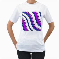 Purple Lines Women s T Shirt (white) (two Sided) by Valentinaart