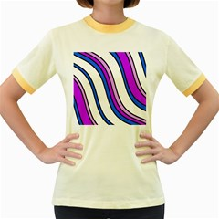 Purple Lines Women s Fitted Ringer T Shirts by Valentinaart