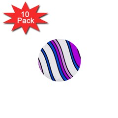 Purple Lines 1  Mini Buttons (10 Pack)  by Valentinaart