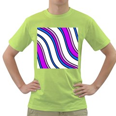 Purple Lines Green T Shirt by Valentinaart