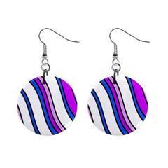 Purple Lines Mini Button Earrings by Valentinaart