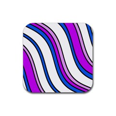 Purple Lines Rubber Coaster (square)  by Valentinaart