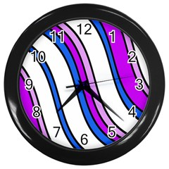 Purple Lines Wall Clocks (black) by Valentinaart