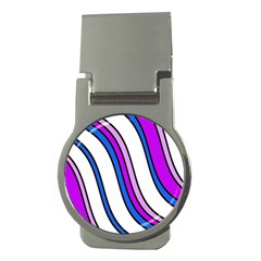 Purple Lines Money Clips (round)  by Valentinaart