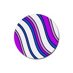 Purple Lines Rubber Coaster (round)  by Valentinaart