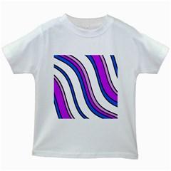 Purple Lines Kids White T Shirts by Valentinaart