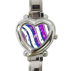 Purple Lines Heart Italian Charm Watch by Valentinaart