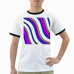 Purple Lines Ringer T Shirts by Valentinaart