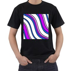 Purple Lines Men s T Shirt (black) (two Sided) by Valentinaart
