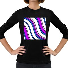 Purple Lines Women s Long Sleeve Dark T Shirts by Valentinaart