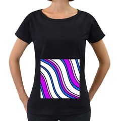 Purple Lines Women s Loose Fit T Shirt (black) by Valentinaart