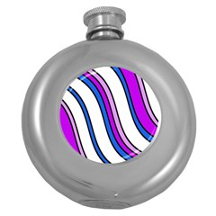 Purple Lines Round Hip Flask (5 Oz) by Valentinaart