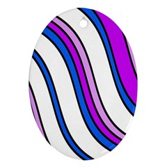 Purple Lines Oval Ornament (two Sides) by Valentinaart