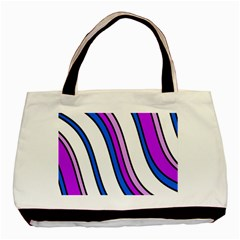 Purple Lines Basic Tote Bag (two Sides) by Valentinaart