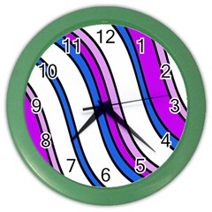 Purple Lines Color Wall Clocks by Valentinaart