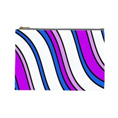 Purple Lines Cosmetic Bag (large)  by Valentinaart