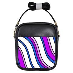 Purple Lines Girls Sling Bags by Valentinaart