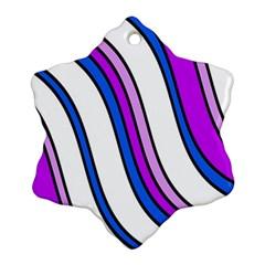 Purple Lines Snowflake Ornament (2 Side) by Valentinaart
