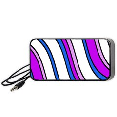 Purple Lines Portable Speaker (black)  by Valentinaart