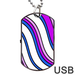 Purple Lines Dog Tag Usb Flash (one Side) by Valentinaart