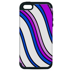 Purple Lines Apple Iphone 5 Hardshell Case (pc+silicone) by Valentinaart